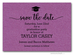 Grad Hat on Shimmery Purple Save the Date Cards
