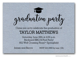 Hat on Shimmery Silver Graduation Party Invitations