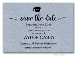 Grad Hat on Shimmery Silver Save the Date Cards