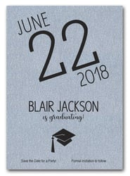 Shimmery Silver Modern Graduation Save the Date Cards