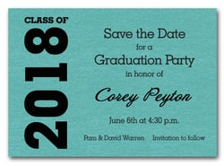 Shimmery Turquoise Graduation Save the Date Cards