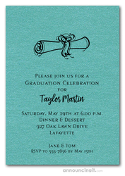 Diploma on Shimmery Turquoise Graduation Invitations