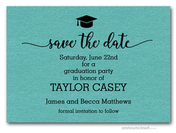 Grad Hat on Turquoise Save the Date Cards