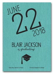 Shimmery Turquoise Modern Graduation Save the Date Cards
