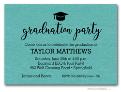 Hat on Shimmery Turquoise Graduation Party Invitations