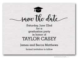 Grad Hat on Shimmery White Save the Date Cards