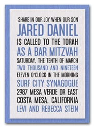 Shimmery White & Blue Bar Mitzvah Invitations