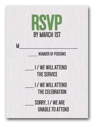 Green on White Bar Mitzvah RSVP