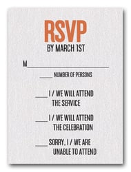 Orange on White Bar Mitzvah RSVP
