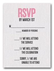 Pink on White Bat Mitzvah RSVP