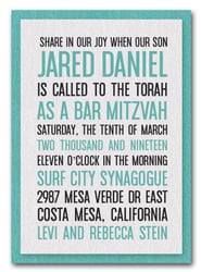 Shimmery White & Turquoise Bar Mitzvah