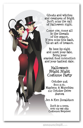 Sinister Couple Vampire Halloween Invitations
