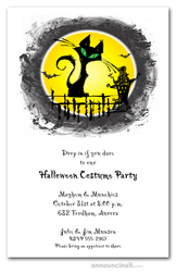 Scruffy Black Cat Halloween Invitations