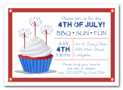 Watermelon Watercolor Party Invitations 4th Of July Sparkler Cupcake