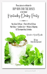 Sprigged Mint Julep Derby Invitations