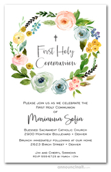 Spring Wreath Religious Invitations