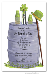 Beer Keg St. Patty's Day Party Invitations
