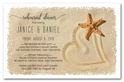 Starfish and Sand Heart Invitations