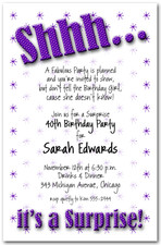 Shhh Purple Polka Dot Surprise Party Invitations