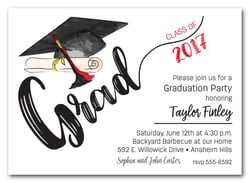 Graduation party invitations high school college graduation graduation invitations black red tassel on black cap filmwisefo Images