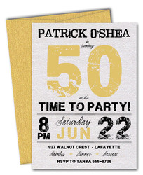 Palm Tree All White Party Invitations Grunge Gold Time To