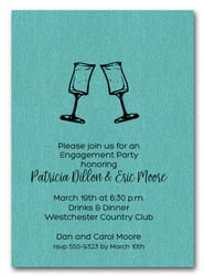 Let's Toast on Shimmery Turquoise Cocktail Party Invitations