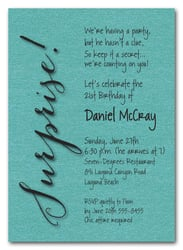 Shimmery Turquoise Surprise Party Invitations