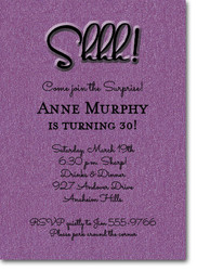 Surprise Party Invitations Shimmery Purple Shhh