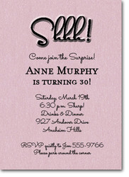 surprise party invitations shimmery pink shhh