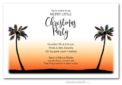Sunset Palms & Lights Holiday Invitations