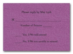 Shimmery Purple RSVP Cards