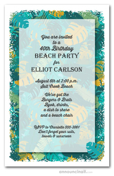 Teal Green Tropical Leaves Party Invitations