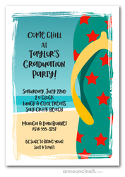 Teal Flip Flops Beach Graduation