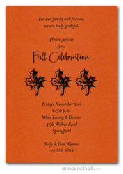 Three Leaves on Shimmery Orange Invitations