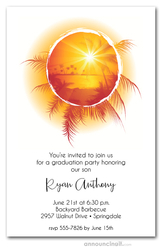 Tropical Sunset on Water Graduation Invitations