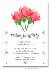Watercolor Red Roses Derby Party Invitations