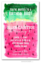 Watermelon Watercolor Party Invitations