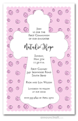 White Cross on Pink Curls Invitations