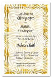 White Palms on Gold Invitations