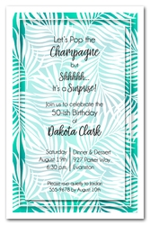 White Palms on Teal Invitations