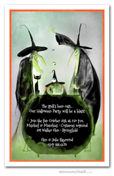 Witchy Trio Halloween Party Invitations