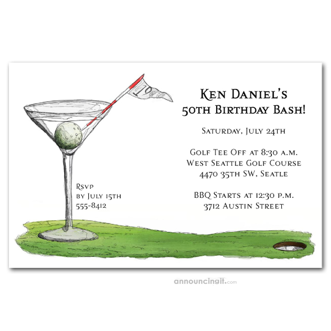 19th Hole Martini Birthday Party Invitations Golf Outing