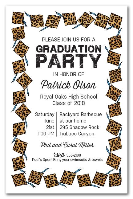 Cheetah Cap With Blue Tassel Graduation Party Invitations