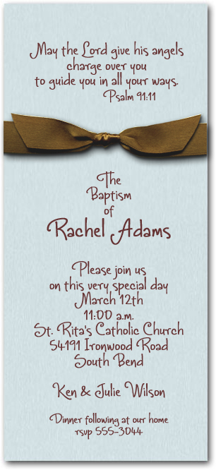 Shimmery Baby Blue Baptism Invitation Wrapped With Brown Bow
