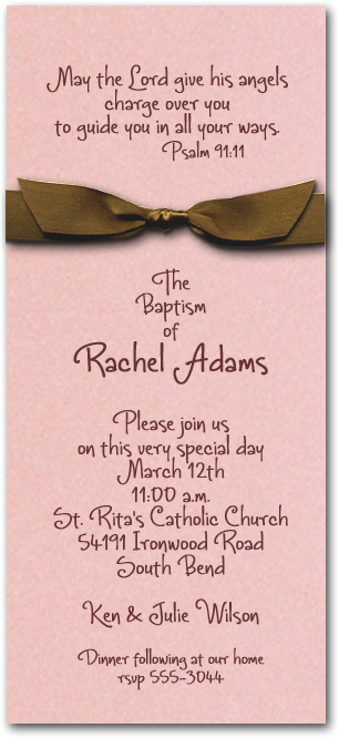Shimmery Pink Baptism Invitation Wrapped With Brown Bow