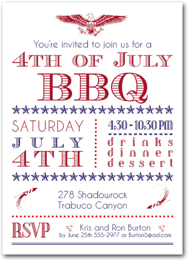 4th of july patriotic bbq party invitations
