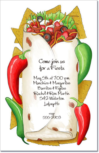 Stuffed Burrito Mexican Fiesta invitations, Cinco de Mayo ...
