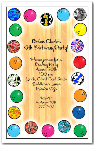 bowling ball border invitation  bowling birthday party