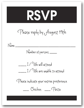 white and black rsvp cards reply cards response cards