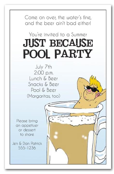 man in beer mug party invitations summer party invitations